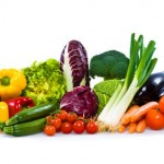isolated colorful vegetable arrangement